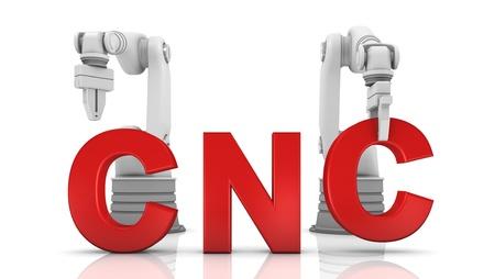 Industrielle Roboterarme Gebäude CNC Wort auf weißem Hintergrund Standard-Bild - 11016437