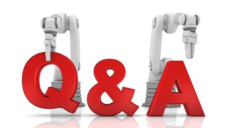 Industrial robotic arms building Q&A word on white background