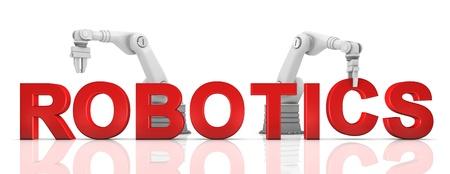 mano robotica: Industrial brazos rob�ticos construcci�n de palabras ROB�TICA en el fondo blanco Foto de archivo