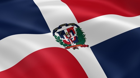 dominican: Dominican Republic flag in the wind. Part of a series. Stock Photo