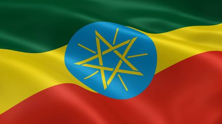 ethiopia: Ethiopian flag in the wind. Part of a series.