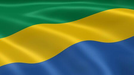 gabon: Gabonese flag in the wind. Part of a series.