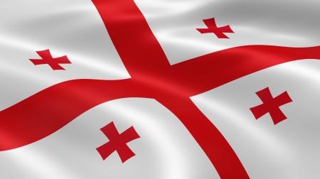 tbilisi: Bandiera georgiana nel vento. Parte di una serie.