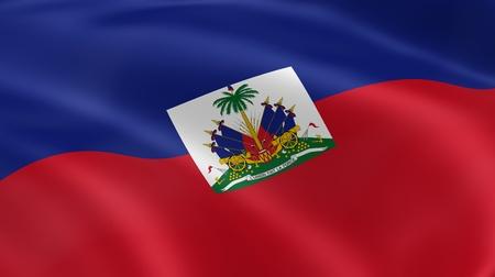 port au prince: Bandera haitiana en el viento. Parte de una serie.