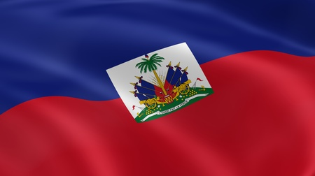 red flag: Haitian flag in the wind. Part of a series. Stock Photo