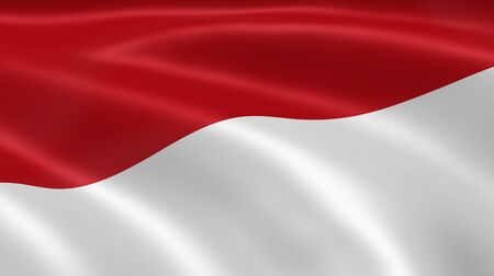 the indonesian flag: Indonesian flag in the wind. Part of a series. Stock Photo