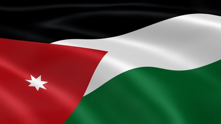 Jordanian flag in the wind. Part of a series. photo