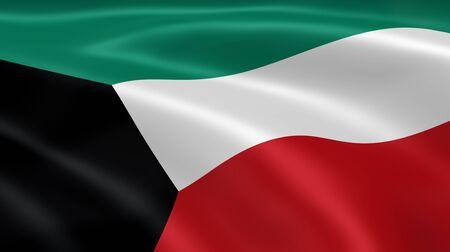 koweit: Pavillon kowe�tien dans le vent. Partie d'une s�rie. Banque d'images