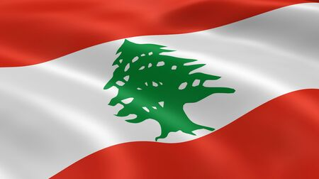 lebanon: Lebanese flag in the wind. Part of a series. Stock Photo