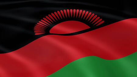 malawi flag: Malawian flag in the wind. Part of a series. Stock Photo