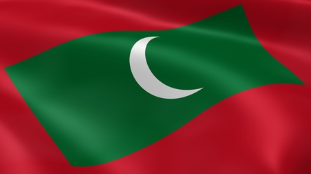 maldivian: Maldivian flag in the wind. Part of a series. Stock Photo