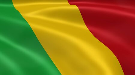 mali: Malian flag in the wind. Part of a series. Stock Photo