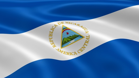 nicaraguan: Nicaraguan flag in the wind. Part of a series. Stock Photo