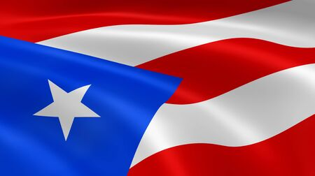 puerto: Puerto Rican flag in the wind. Part of a series.