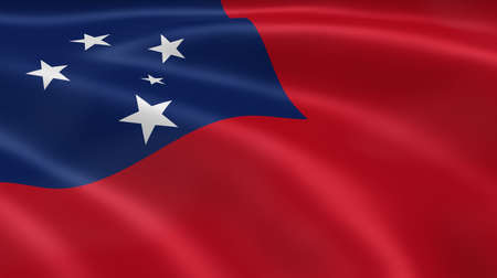 samoa: Samoan flag in the wind. Part of a series.