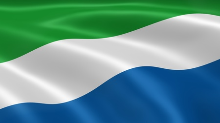 Sierra Leonean flag in the wind. Part of a series. photo