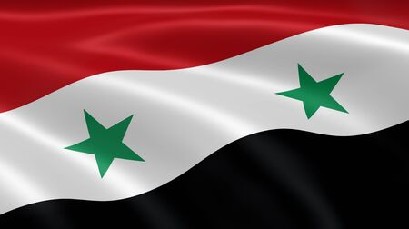 syrian: Syrian flag in the wind. Part of a series. Stock Photo