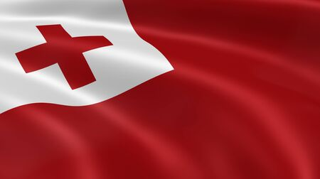 red cross: Tongan flag in the wind. Part of a series.