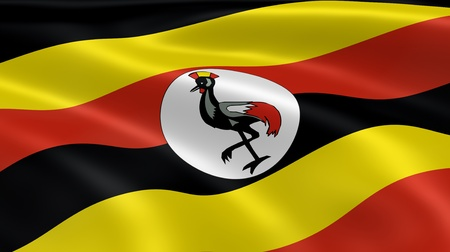 kampala: Ugandan flag in the wind. Part of a series.