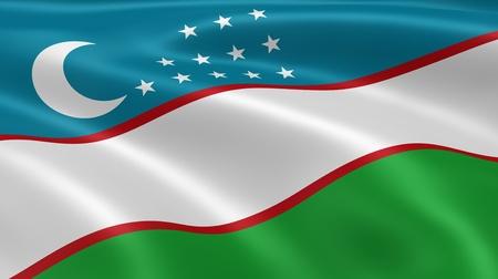 uzbek: Uzbek flag in the wind. Part of a series.