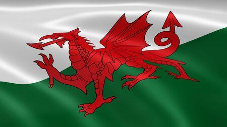 welsh flag: Bandiera gallese nel vento. Parte di una serie.