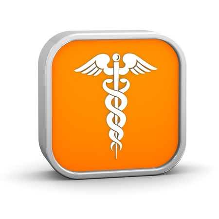 orange snake: Caduceus Sign on a white background. part of a series. Stock Photo