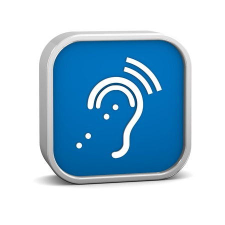 assistive: Assisted Listening System Sign on a white background. Part of a series. Stock Photo