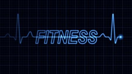 elettrocardiogramma: Elettrocardiogramma blu creando parola fitness. Parte di una serie. Archivio Fotografico