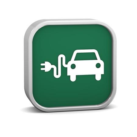 eficiencia: Iniciar sesi�n coche el�ctrico sobre un fondo blanco. Parte de una serie.