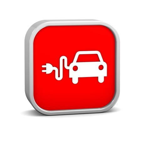 Electric Car Sign auf einem weißen Hintergrund. Teil einer Reihe. Standard-Bild - 12423413