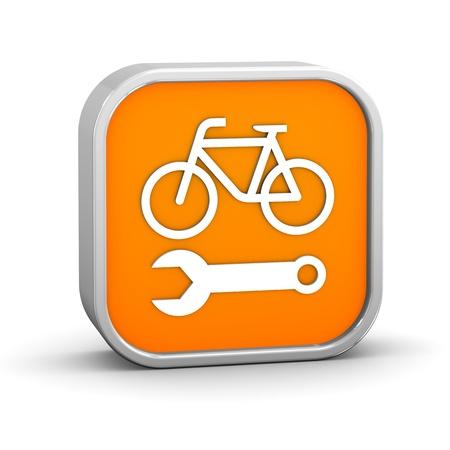 cadenas: Bicicletas, signo de reparaci�n sobre un fondo blanco. Parte de una serie. Foto de archivo
