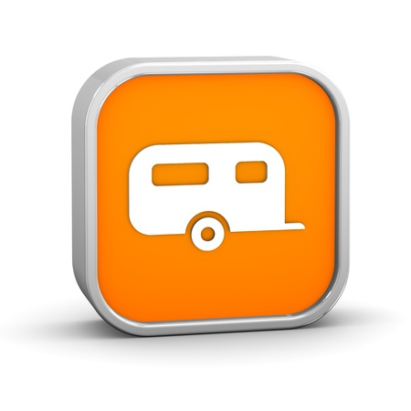 recreational vehicle: Camper sign on a white background. Part of a series. Stock Photo