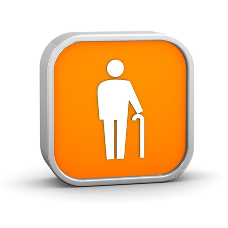 impairment: Cane sign on a white background. Part of a series. Stock Photo