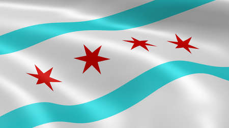 windy city: Chicagoan flag in the wind  Part of a series  Stock Photo
