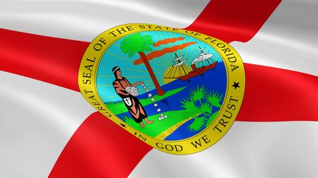 floridian: Floridian flag in the wind. Part of a series. Stock Photo