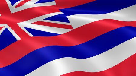 hawaii flag: Hawaiian flag in the wind. Part of a series. Stock Photo
