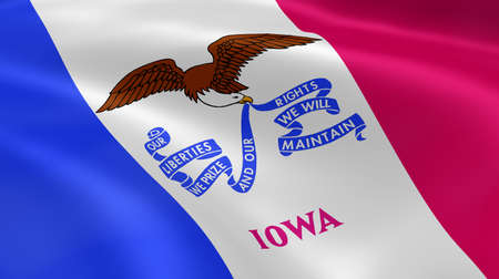 davenport: Iowan flag in the wind. Part of a series.