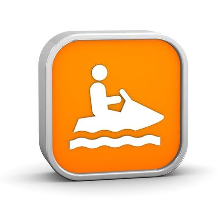 moto acuatica: Jet signo de esquí sobre un fondo blanco. Parte de una serie. Foto de archivo