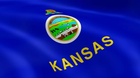 lawrence: Kansas flag in the wind. Part of a series. Stock Photo