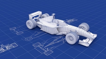 one to one: Formula racing car Blueprint