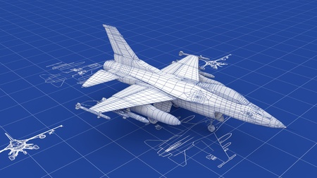 Jet Fighter Aircraft Blueprint. Part of a series. photo