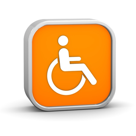 wheelchair access: Wheelchair Accessible sign on a white background. Part of a series. Stock Photo