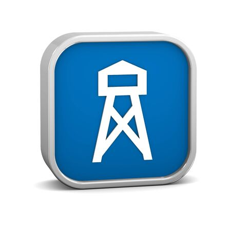 lookout: Lookout tower sign on a white background. Part of a series. Stock Photo
