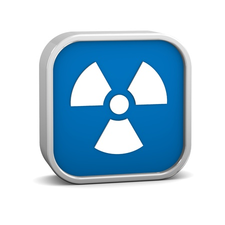 uranium radioactivity: Radiation sign on a white background. Part of a series. Stock Photo