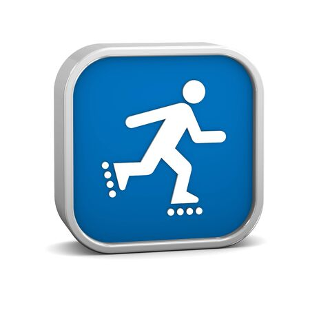 inline skater: Rollerblade sign on a white background. Part of a series.