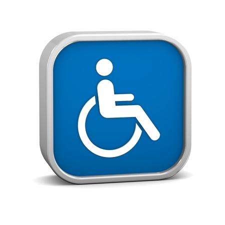 Wheelchair Accessible sign on a white background. Part of a series. Stock Photo