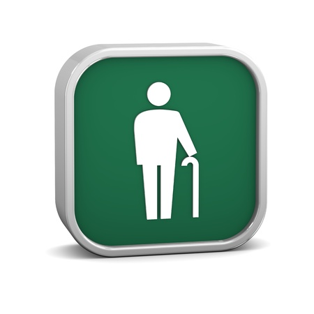 elder: Cane sign on a white background. Part of a series. Stock Photo