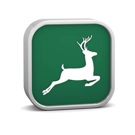 white tail deer: Deer sign on a white background. Part of a series.
