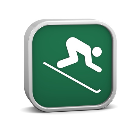 powder snow: Downhill skiing sign on a white background. Part of a series. Stock Photo