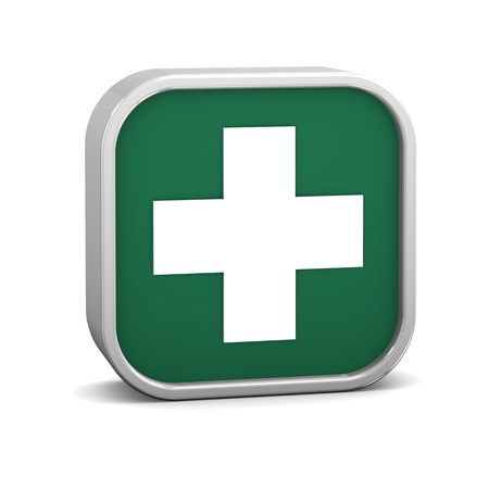 first aid sign: First aid sign on a white background. Part of a series. Stock Photo